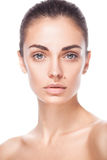 Closeup portrait of young adult woman with clean fresh skin Royalty Free Stock Images