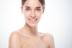 Closeup portrait of young adult woman with clean fresh skin Stock Photography