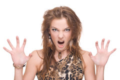 Closeup portrait of young angry savage woman Stock Photo