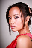 Closeup portrait of a young asian model. Closeup portrait of a young beautiful asian woman stock image