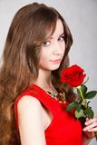 Closeup portrait of a young attractive woman with a red rose Stock Photography