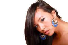 Closeup portrait of a young beautiful asian model. With makeup and jewelry stock photos