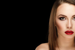 Closeup portrait young beautiful brunette woman with makeup and Royalty Free Stock Photo