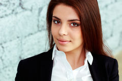 Closeup portrait of a young beautiful businesswoman Stock Images