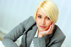 Closeup portrait of a young beautiful businesswoman Stock Photography