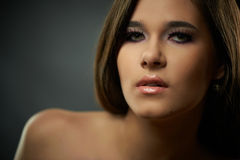 Closeup portrait of young beautiful woman Royalty Free Stock Photography