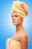 Closeup portrait of young beautiful woman after bath Stock Photo