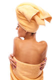 Closeup portrait of young beautiful woman after bath Stock Photography