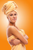 Closeup portrait of young beautiful woman after bath Royalty Free Stock Photography