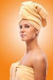 Closeup portrait of young beautiful woman after bath Stock Image