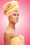 Closeup portrait of young beautiful woman after bath Royalty Free Stock Photo