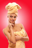 Closeup portrait of young beautiful woman after bath Stock Photos
