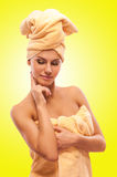 Closeup portrait of young beautiful woman after bath Royalty Free Stock Images