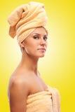 Closeup portrait of young beautiful woman after bath Stock Photo