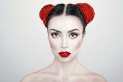 Closeup portrait of young beautiful woman brunet girl with Art makeup royalty free stock photo