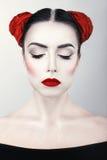 Closeup portrait of young beautiful woman brunet girl with Art makeup stock images