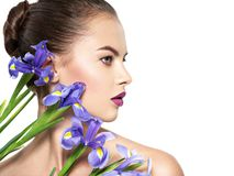 Portrait of young beautiful woman with a healthy clean skin of t stock images