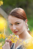 Closeup portrait of young beutiful girl outdoors Stock Photography