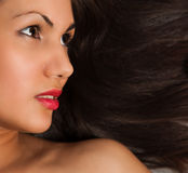 Closeup portrait of young black hair Stock Photography
