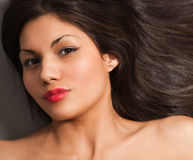 Closeup portrait of young black hair Stock Images