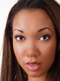 Closeup portrait of young black woman Stock Images