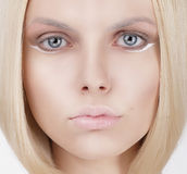 Closeup Portrait of Young Blond Woman Royalty Free Stock Photos