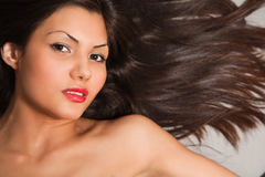 Closeup portrait of young brown hair Stock Images