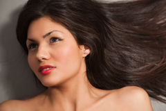 Closeup portrait of young brown hair Royalty Free Stock Photography
