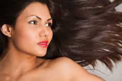 Closeup portrait of young brown hair Stock Image