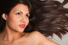 Closeup portrait of young brown hair Royalty Free Stock Photo