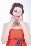 Closeup Portrait of an young brunette woman. pure skin Royalty Free Stock Photos