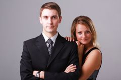 Closeup portrait of young business couple Royalty Free Stock Photo