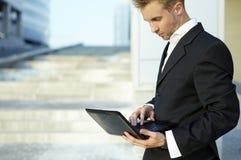 Closeup portrait of young businessman stock images