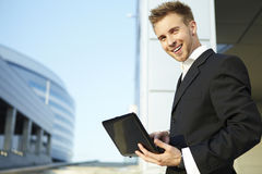 Closeup portrait of young businessman royalty free stock photography