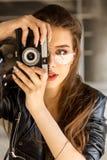 Fashion urban style hipster girl. stock photos