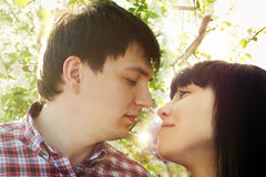 Closeup portrait of young couple Royalty Free Stock Image
