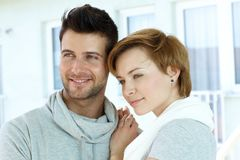 Closeup portrait of young couple stock photography