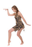 Closeup portrait of young dacing savage woman. Closeup portrait of young savage woman that dancing Royalty Free Stock Photography