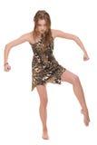 Closeup portrait of young dacing savage woman. Closeup portrait of young savage woman that dancing Stock Image