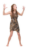 Closeup portrait of young dacing savage woman. Closeup portrait of young savage woman that dancing Royalty Free Stock Photo