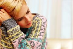 Closeup portrait of young depressed woman Stock Photography