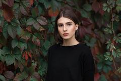 Closeup portrait of young elegant brunette hipster woman in black blouse against slight blurred ivy background Royalty Free Stock Photography