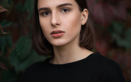 Closeup portrait of young elegant brunette hipster woman in black blouse against slight blurred ivy background outdoors Royalty Free Stock Photos
