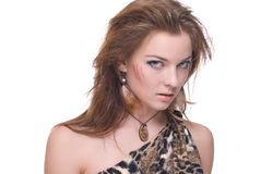 Closeup portrait of young emotional savage woman. On white Royalty Free Stock Photos