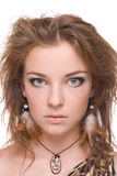 Closeup portrait of young emotional savage woman. On white Stock Images
