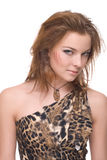 Closeup portrait of young emotional savage woman. On white Royalty Free Stock Images