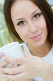 Closeup portrait of a young female Royalty Free Stock Images