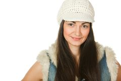 Closeup portrait of young female in knitted cap Royalty Free Stock Photography