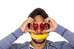 Closeup portrait young funny man covering face Stock Photo