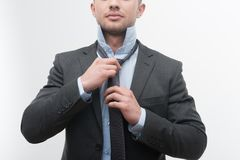 Closeup portrait of young handsome businessman in Royalty Free Stock Photography